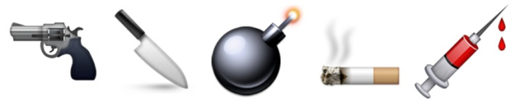 Gun + Knife + Bomb + Cigarette + Syringe Emojis