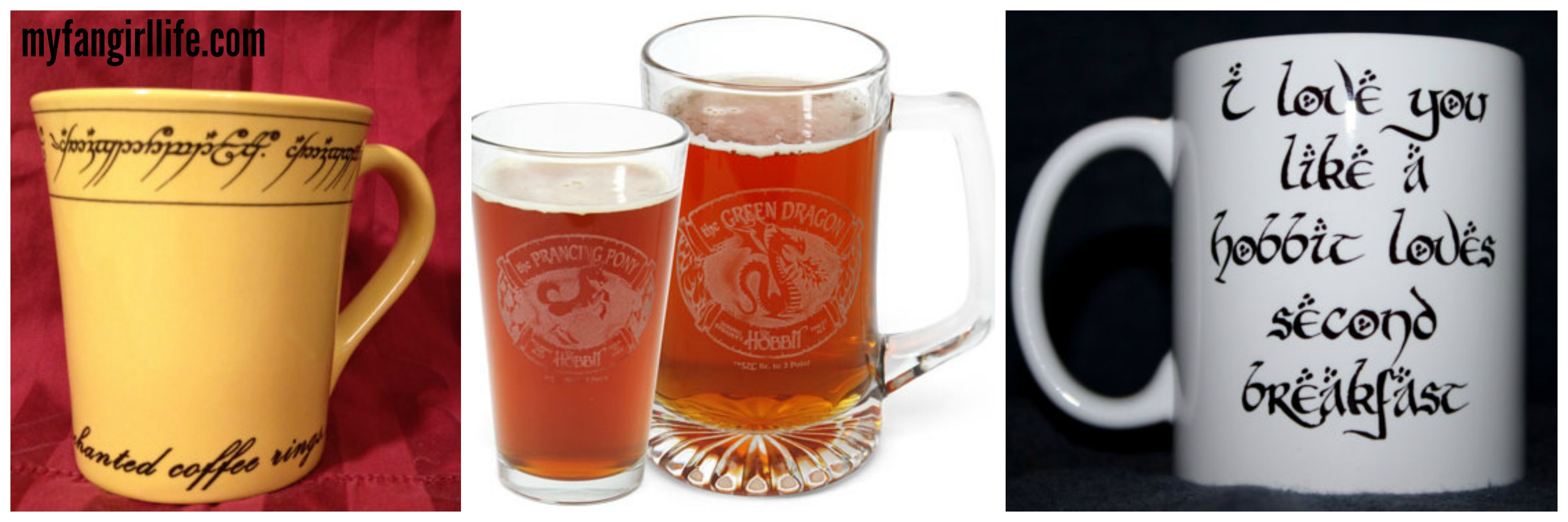 The hobbit lord of the rings glasses mugs
